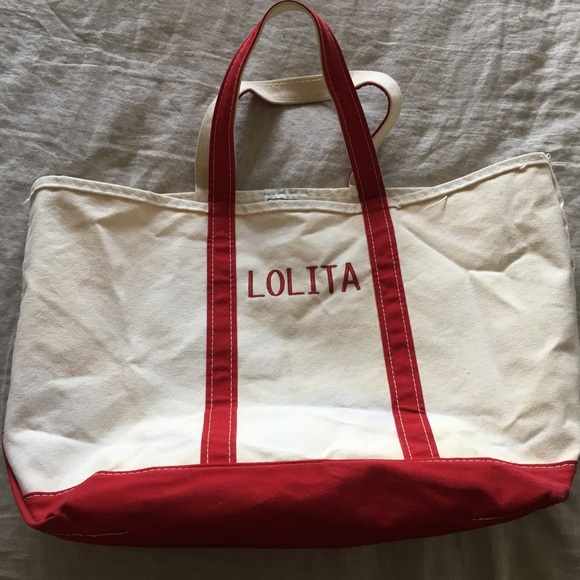 a4bbc4fadf14 L.L. Bean Handbags - LLBean monogram boat and tote red canvas large